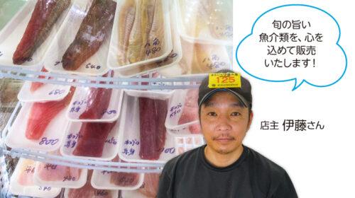 旬の旨い魚介類を、心を 込めて販売いたします!